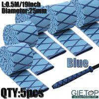 Wholesale 5pcs Diameter mm M quot Blue X Tube Heat Shrink Tubing Handle Grip Wrap Sleeving For Fishing Rods Sports Equipment