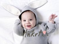 Wholesale INS winter children sweater knitting coat boys and girls rabbit ears jumper sweater outfits baby hooded pullover