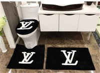 Wholesale 4pcs set Black Classic English Letters VL Flocking Toilet Seat Cover Set Home Garden Toilet Room Winter Warmer Toilet Seat Cover Set