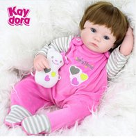baby doll wigs - 2016 New Inches cm Silicone DollDoll Reborn Baby Kawaii Kids Toys Girls boneca Blue Eyes Brown Hair Wig Gift Dolls brinquedos