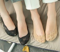 Wholesale One pair price Women s Ankle Sock Female Invisible Socks Slippers Shallow Mouth Summer Thin Lace Socks Ankle Heal Short Sock