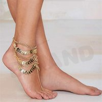 Wholesale New Spring Barefoot Coin Ankle Chain Anklet Bracelet Foot Jewelry Sandal Beach Gold Plated For Women Hot L159