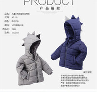 Wholesale 2016 Fall Winter Boys Dinosaur Modeling Warm Coat For Children Thicken Cotton Outwear Kids Korean Style Coats Boy Hooded Down Jacket Coats
