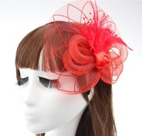 Cheap Amazing Vintage Women Party Evening Lace Flower Feather Bridal Hair Accessories for women Wedding Headband HJIA484