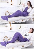 Wholesale Lovely Mermaid Lazy Bag Adults Laybags Knitted Mermaid Tail Blanket Soft Sleeping Bags MC0365