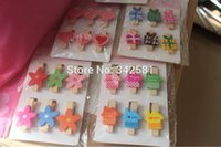 Wholesale 6pcs Mini Love Heart Flower Color House Gift Box Wooden Clothes Photo Paper Peg Pin Clothespin Craft Clips