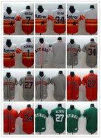 astros reds - 2016 Flexbase MLB Stitched Houston Astros Blank Correa Ryan Altuve Biggio White Orange Green Gray Baseball Jersey Mix Order