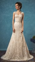 Wholesale Champagne Amelia Sposa Long Wedding Dresses Lace Applique V Neck Cap Sleeves Button Back Court Train Sheath Country Bridal Gowns