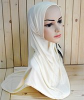 Wholesale m050 New style two lines beading Fashion Cheap Muslim Hijabs per dozen Ice silk Islamic Jilbabs