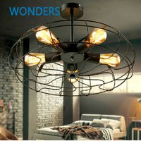 american electric lighting - Rh Loft Vintage American Personality Industrial Style Electric Fan Ceiling Light With E27 Edison light bulbs