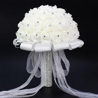 Cheap White Wedding Flower Bouquet Handmade Rose Rhinestone Pearl Bridal Bouquet Artificial Foam Flower with Satin 1 Piece