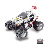 Wholesale 2016 Kids Toys RC Trucks Iron Building Blocks Sets Toys For Gift Items Metal drift Remote Cars Bricks One Piece Li po Batteries F