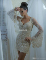 Wholesale Sexy Women Short Cocktail Dresses Beaded Lace Long Poet Sleeve V Neck Mini Sheath Fashion Champagne Prom Party Gowns Custom Made