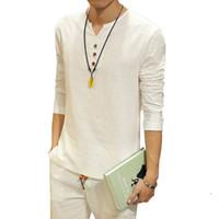 Wholesale Hot Summer New Chinese Kung Fu Vintage Style Men Shirt Men s V Neck Long Sleeve Linen Shirt Plus Size Mens Clothing XL