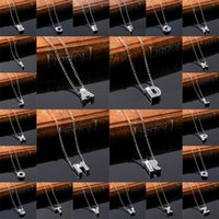 acrylic name necklace - Pendant Necklace Silver Short Chain Choker Crystal Personal English Letters Name Necklace For Women Fine Jewelry Chain necklace
