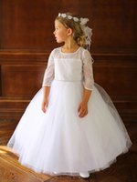 accent the neckline wedding dress - Flower Girl Dress lace fabric and beaded accents around the neckline First Communion Dresses organza piped For Wedding Party
