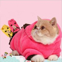 Wholesale Cat Princess Hoodies With Cartoon Printed Pet Spring Fall Clothing Pink Yellow Coral Puppy Cute Sweet GP160224