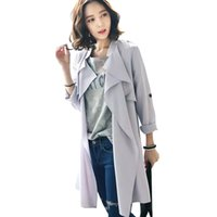 Wholesale SY160 Fashion Spring elegant gray chiffon With Belt trench coat for women long sleeve classic outwear Casual brand female