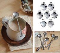 Wholesale Tableware Flower Shape Sugar Stainless Steel Silver Tea Coffee Spoon Teaspoons Ice Cream Flatware Kitchen Tool