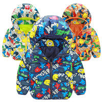 Wholesale 2016 winter boys down coat style cartoon printed long sleeves good quality warm wanter kids outwear I201681904