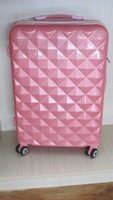 aluminium luggage case - Bright color ABS PC ALUMINIUM FRAME LUGGAGE TROLLEY CASE woman and men ABS luggage carry on luggage