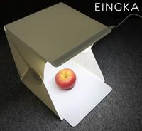 background boxes - 2016 NEW Mini Folding Studio Diffuse Soft Box x23x23cm With LED Light Black White Background Camera Photo Studio Accessories
