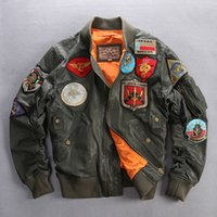 air force leather bomber jacket - Fall Air force pilot flight jacket men army green patches leather bomber jacket baseball coat loose style real leather jacket for men