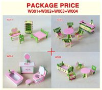 Wholesale 4set New children gift kids wooden toy Furniture doll house set DIY Educational Toys kitchen bathroom and chilren room