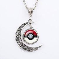 ball chain link necklace - 2016 Poke Pendant Chain Necklaces Pocket Monster Fashion Poke Ball Necklaces Pikachu Time Gem for Women Men Kids Toys Charms Glass Jewelry