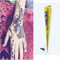 belly tube - Black Natural Herbal Henna Cones Tube Natural Indian Temporary Tattoos Kit Body Art Painting Tool