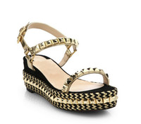 Wholesale 2016 Newest Designer Gold Rivets Hand Printing Platform Design Women Sandals Red Bottom High Wedge Heels Ladies Sexy Party Shoes Sandals