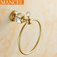 Wholesale MANCEL Towel Ring Brass Bathroom Bedroom Towel Holders Wall Mounted Bathroom Accessories Golden Crystal Series