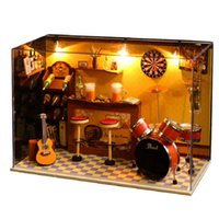 Wholesale 2016 New Wooden Dollhouse Furniture Kids Toys Handmade Gift Diy Doll House Kits With LED Stuff Home Decor Craft Doll Houses Miniature T008