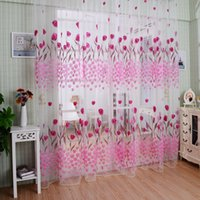 Wholesale Hot Tulle Voile Door Curtain Window Room Drape Divider Totem Floral Printed Scarf Sheer Pink m m
