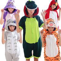 anime shorts - Unicorn Stitch Panda Unisex Adult Cotton Short Sleeve Hooded Pajamas Anime Costumes Cosplay Animal Kigurumi Onesies Sleepwear
