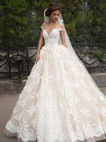 bridal gown sweep train - Luxury Wedding Dresses Sheer Jewel Neck d Floral Lace Appliques Plus Size Bridal Gowns Custom Made Vintage Wedding Gowns