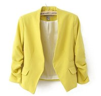 Wholesale 2016 new arrival spring autumn fashion brand blazer women Candy Color ladies coat Slim Solid puff sleeve blazers Basic jackets