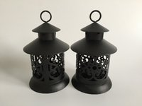Wholesale 4pcs Metal souvenir candle holder house Wedding decoration Iron lantern Black Candle Holder