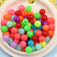 Wholesale 300pcs Mixed Fluorescent Neon Beads Acrylic Solid Beads AAA Round Beads for kids Necklace Bracelet DIY Jeweley mm K01748