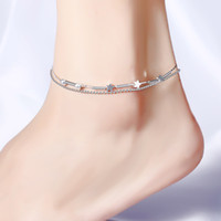 Wholesale Sexy star ankle chain bracelets beach jewelry new silver plated double layers anklets jewelry for Women Boot Foot Jewelry