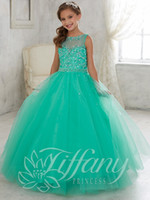 green jade - Newest Jade Mint Little Girls Pageant Dresses Tulle Sheer Lace Illusion Neck Sequin Beaded Kids Flower Girls Birthday Princess Gowns