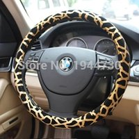 Wholesale by China Post Fashion leopard printed PU leather car steering wheel cover cm Lady s car steering wheel cover