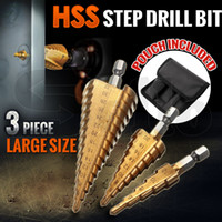 Wholesale New pc HSS Step Cone Drill Bit Set Titanium Metric Hole Cutter mm Kit New HSS Steel Large Step Cone Drill