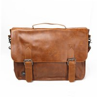 Wholesale Vintage Men s PU Leather Business Handbag Shoulder Messenger Briefcase Laptop Tote Bag Quality