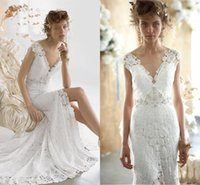 Wholesale Fantastic Full Lace Sheath Sexy Wedding Dresses Dep V neck Backless Chic Bridal Gowns with Short Cap Sleeves Front Split Bridal Gowns