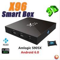 Wholesale 2016 New X96 Smart Android TV Box G G Amlogic S905X Quad Core Wifi HDMI A K Kodi Marshmallow Media KODI