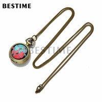 Wholesale BESTIME Watch Necklace Pocket Watch Two Fox Retro Antique Pendant Necklace for Ladies Girls Cute Quartz Movement