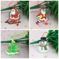 Wholesale Christmas LED Rope Necklace Christmas Tree Santa Claus Snowman PVC Soft Rubber Necklace For Kids Xmas Party Gift