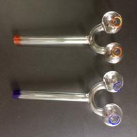 Nouveaux Brûleurs à mazout en verre Tubes avec doubles tuyaux Curved Tuyaux d'eau en verre tuyau narguilés verre Universal verre Hookah Pot en verre huile