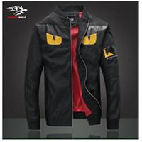 Wholesale Fall Men s fashion jackets Tide brand personality coat zipper shirt devil eyes Korean stitching leather jacket